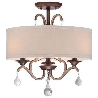 Gwendolyn Place 3-Light Dark Rubbed Sienna with Aged Silver Semi-Flush Mount Light