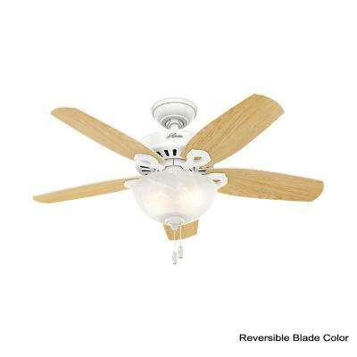 Builder Small Room 42 in. Indoor Snow White Bowl Ceiling Fan with Light Kit bundled with Handheld Remote Control