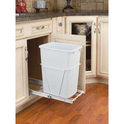 19 in. H x 11 in. W x 22 in. D Single 35 Qt. Pull-Out White and White Waste Container with 3/4 in. Extension Slides