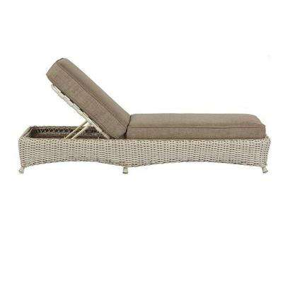 Lake Adela Bone Patio Chaise Lounge with Wheat Cushion