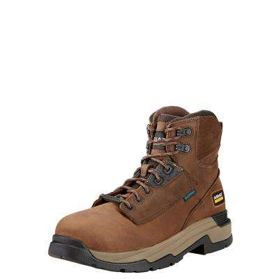 Men's Oily Distressed Brown Mastergrip Waterproof Composite Toe Work Boot