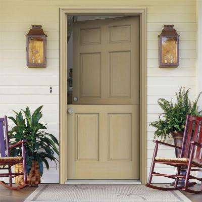 Dutch Hemlock 6-Panel Unfinished Wood Prehung Front Door with Unfinished AuraLast Jamb and Brickmold