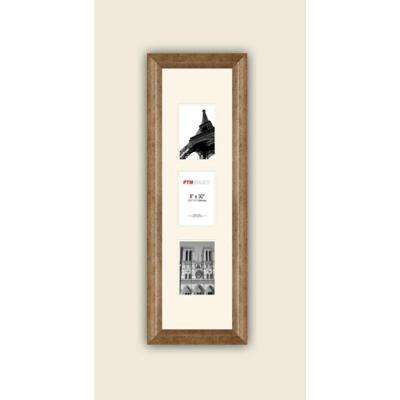 3-Opening Vertical 4 in. x 6 in. White Matted Champagne Photo Collage Frame
