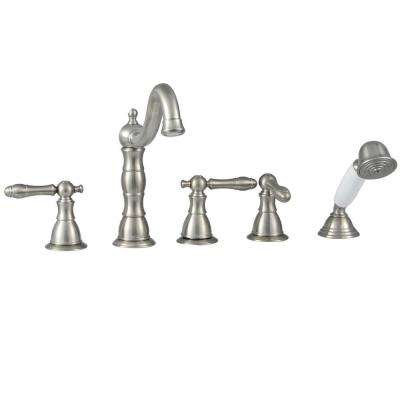 Lyndhurst 3-Handle Deck-Mount Roman Tub Faucet with Handheld Shower in Brushed Nickel