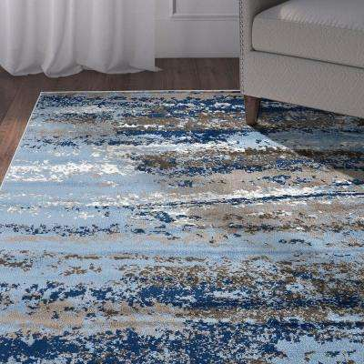 Infinity Light Blue/Soft Blue 7 ft. 9 in. x 9 ft. 5 in. Rectangle Indoor Area Rug