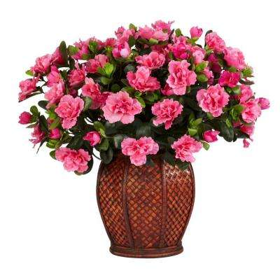 20 in. H Green Azalea with Vase Silk Plant