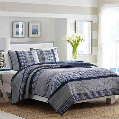 Adelson Navy Striped and Plaid Cotton Quilt