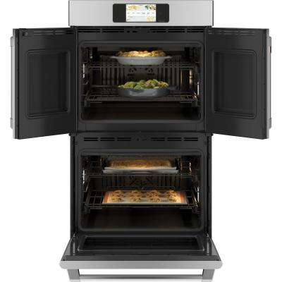 30 in. Smart Double Electric French-Door Wall Oven with Convection Self Cleaning in Stainless Steel
