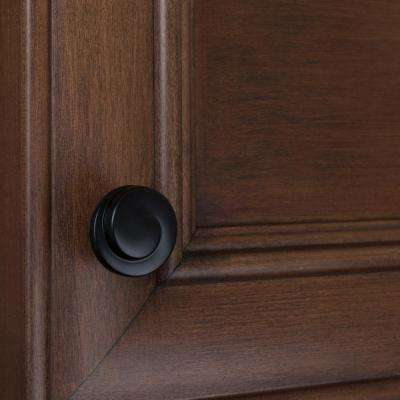 1-1/8 in. Dia Matte Black Classic Wave Cabinet Knob (10-Pack)