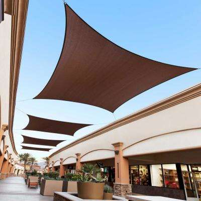 16 ft. x 12 ft. 190 GSM Brown Rectangle Sun Shade Sail Screen Canopy, Outdoor Patio and Pergola Cover
