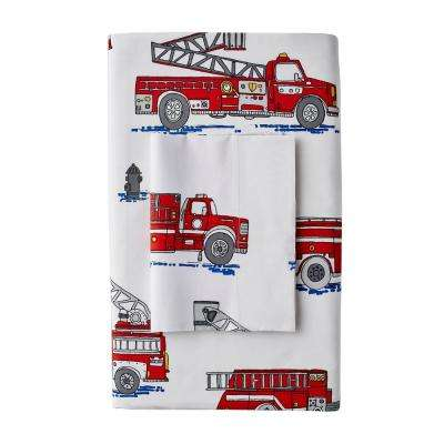 Fire Truck 200-Thread Count Cotton Percale Pillowcase (Set of 2)