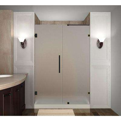 Nautis 48 in. x 72 in. Completely Frameless Hinged Shower Door with Frosted Glass in Oil Rubbed Bronze