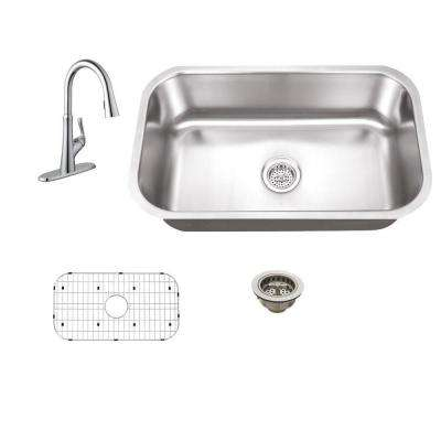 All-in-One Undermount Stainless Steel 28 in. 0-Hole Single Bowl Kitchen Sink with Faucet