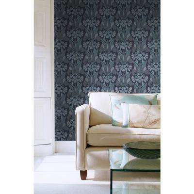 Debut Collection Dragon Flower in Grey/Blue Removable and Repositionable Wallpaper