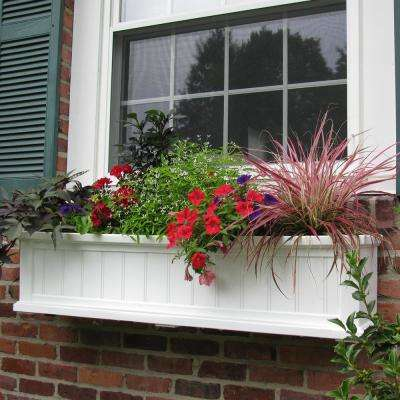 Self-Watering 11 in. x 48 in. White Cape Cod Window Box