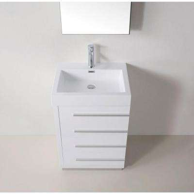 Bailey 24 in. W Bath Vanity in Gloss White with Polymarble Vanity Top in White with Square Basin and Mirror and Faucet