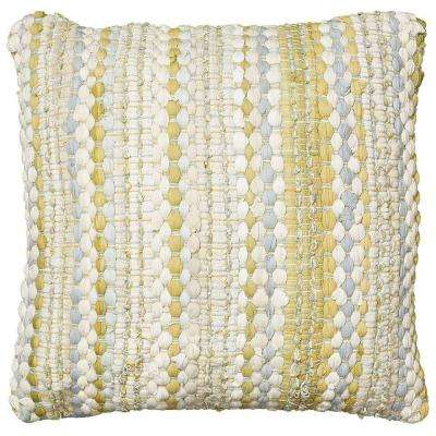 Contemporary 20 in. x 20 in. Yellow/Gray Square Decorative Accent Pillow