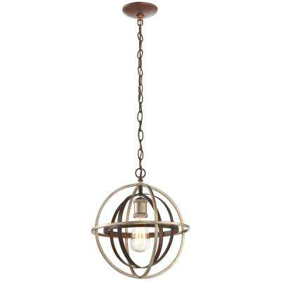 1-Light Bronze and Champagne Pewter Mini Pendant