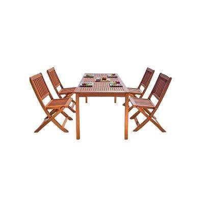 Balthazar Eucalyptus 5-Piece Patio Dining Set with Folding Chairs