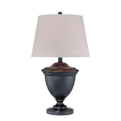 29 in. Bronze Table Lamp with White Fabric Shade
