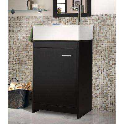 Kole 19-1/2 in. W x 10 in. D Bath Vanity in Espresso with Vanity Top in White