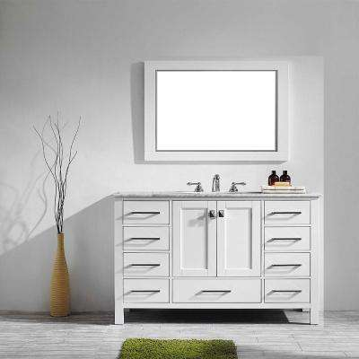 Gela 48 in. W x 22 in. D x 35 in. H Vanity In White with Marble Vanity Top in White with Basin