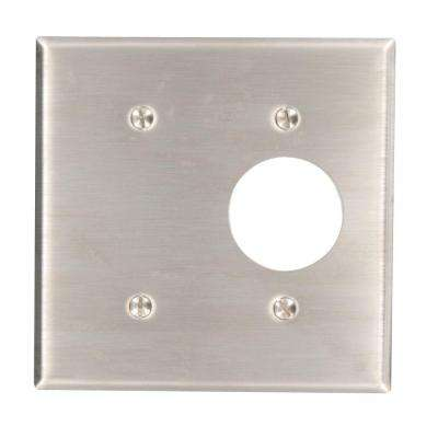 2-Gang 1 Single Receptacle 1 No Device Blank Standard Size Stainless Steel Combination Wallplate, Stainless Steel