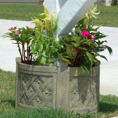 18 in. Round Aged Granite Cast Stone Mailbox Planter