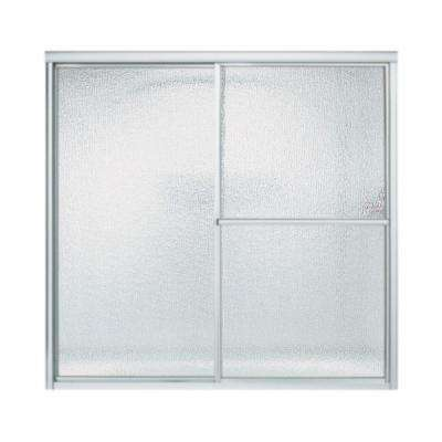 Deluxe 59-3/8 in. x 56-1/4 in. Framed Sliding Bathtub Door in Matte Silver with Rain Glass Texture