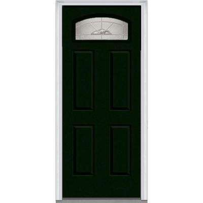 Master Nouveau Decorative Glass Segmented 1/4 Lite 4-Panel Painted Majestic Steel Prehung Front Door