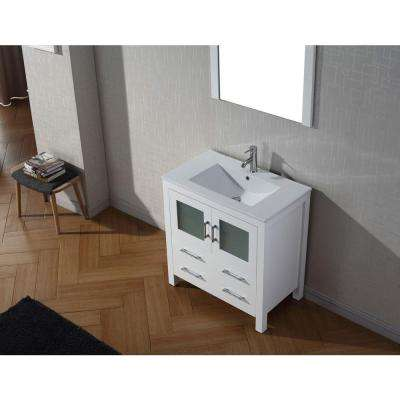 Dior 32 in. W Bath Vanity in White with Ceramic Vanity Top in Slim White Ceramic with Square Basin and Mirror and Faucet