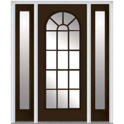 68.5 in. x 81.75 in. Classic Clear Glass Round Top Full Lite Painted Majestic Steel Exterior Door with Sidelites