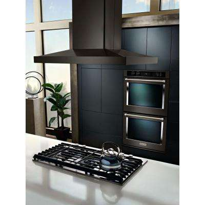 36 in. Island Canopy Range Hood in Black Stainless