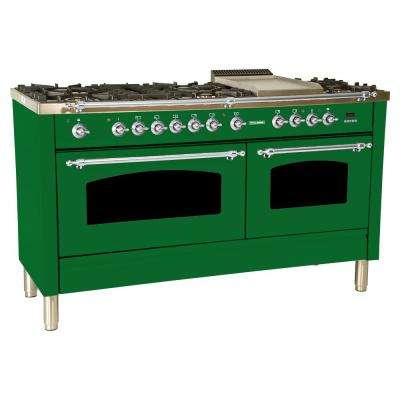 60 in. 6 cu. ft. Double Oven Dual Fuel Italian Range True Convection, 8 Burners, Griddle, Chrome Trim in Emerald Green