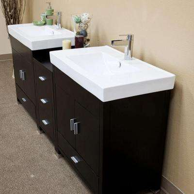 Odessa D 81 in. W Double Vanity in Black with Porcelain Vanity Top in White