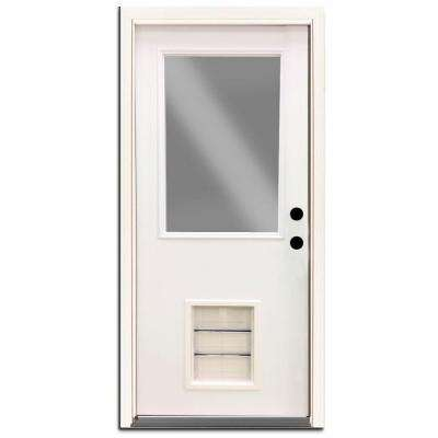 Ordinaire Premium 1/2 Lite Primed White Steel Prehung Front Door With Large Pet Door
