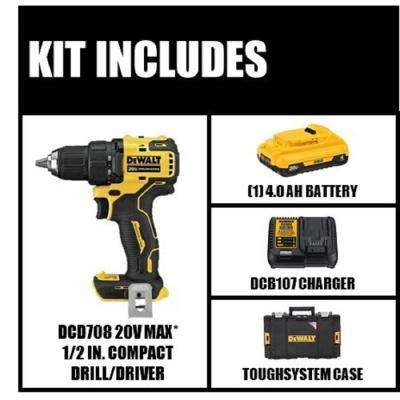 ATOMIC 20-Volt MAX Brushless Cordless 1/2 in. Drill/Driver Kit with Battery 4 Ah, Charger/Tough System 22 in. Toolbox