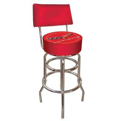 Corvette C6 30 in. Chrome Swivel Cushioned Bar Stool