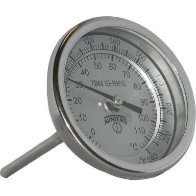 TBM Series 3 in. Dial Thermometer with Fixed Center Back Connection and 4 in. Stem with Range of 20-240 Degrees F/C