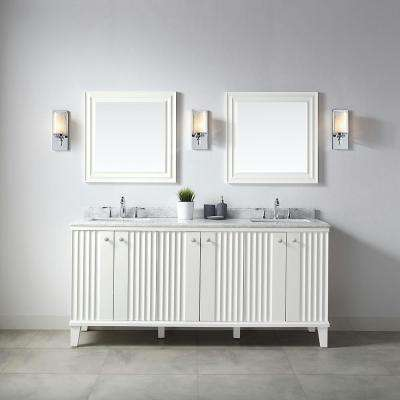 Parker 72 in. W x 22 in. D Vanity in White with Marble Vanity Top in White with White Basin