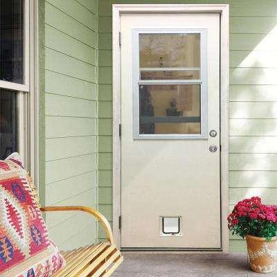 30 in. x 80 in. Classic Clear Vented Half Lite RHOS White Primed Fiberglass Prehung Front Door with Small Cat Door