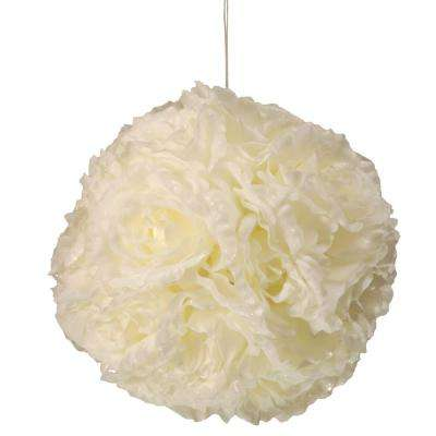 8.75 in. Glittered Rose Ball with Hanging Rope