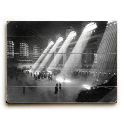 "18 in. x 24 in. ""NYC, 1940's, Grand Central Railroad by Underwood Photo Archive ""Planked Wood"" Wall Art"