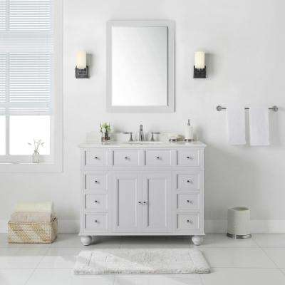 Hampton Harbor 44 in. W x 22 in. D in Dove Grey Bath Vanity with  Natural Marble Vanity Top in White with White Sink