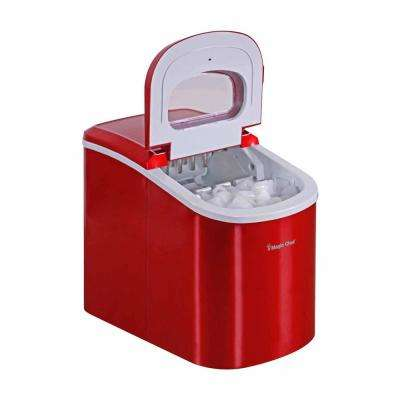 27 lb. Portable Countertop Ice Maker in Red