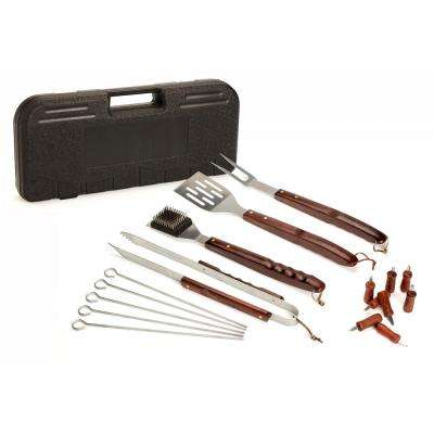 18-Piece Wooden Handle Grill Set