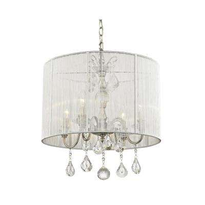 4-Light Polished Nickel Pendant with Silver String Shade
