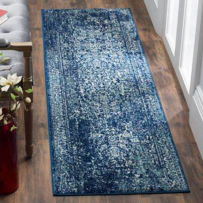 Evoke Navy/Ivory 2 ft. 2 in. x 19 ft. Runner Rug