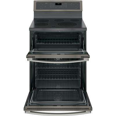 Profile 30 in. 6.6 cu. ft. Double Oven Electric Range with Self-Cleaning Convection Lower Oven in Slate