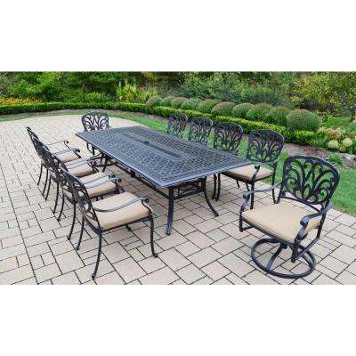 Cast Aluminum 11-Piece Rectangular Patio Dining Set with SpunPoly Beige Cushions